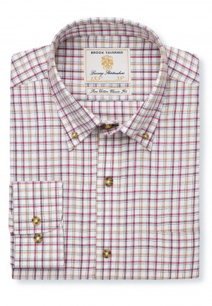 "36.5"" Sleeve Rouge, Gold And Wine Check Single Cuff Shirt"
