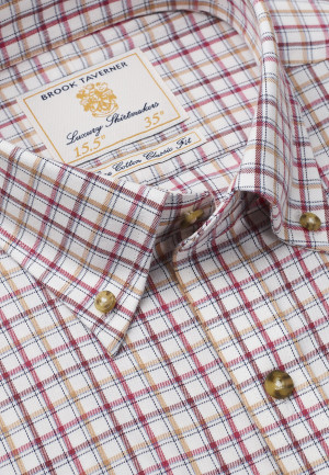 """35"""" Sleeve Rouge, Gold And Wine Check Single Cuff Shirt"""