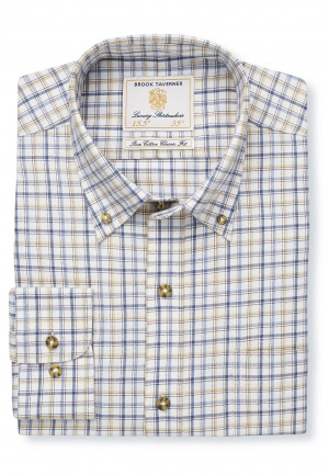 "36.5"" Sleeve Navy, Blue And Beige Check Single Cuff Shirt"