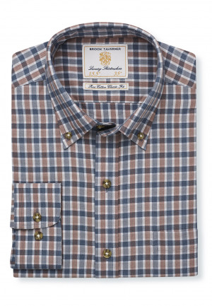 Mocca And Charcoal Check Single Cuff Shirt