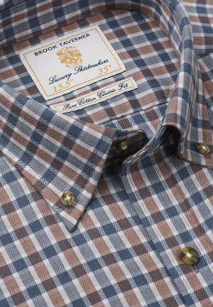 """36.5"""" Sleeve Mocca And Charcoal Check Single Cuff Shirt"""