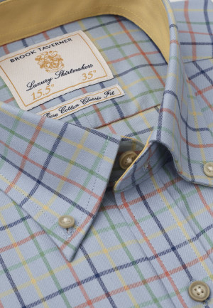Short, Regular And Long Sleeve Blue With Navy, Yellow, Orange And Moss Check Single Cuff Shirt