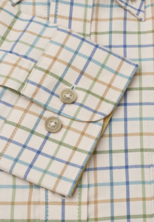 """36.5"""" Sleeve Cream With Blue, Turquoise and Mustard Check Single Cuff Shirt"""