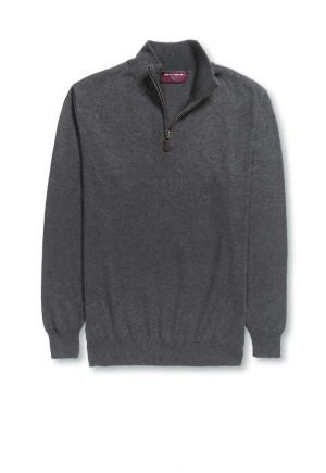 Dallas Charcoal Zip Neck Sweater
