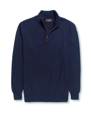 Dallas Navy Zip Neck Sweater