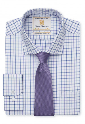 Long Sleeve Blue, Lilac and Navy Neat Check Shirt
