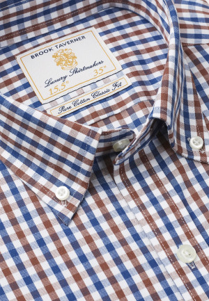 Non Iron Long And Short Sleeve Navy And Mocca Gingham Single Cuff Shirt