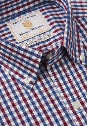 Non Iron Long And Short Sleeve Navy And Red Gingham Single Cuff Shirt