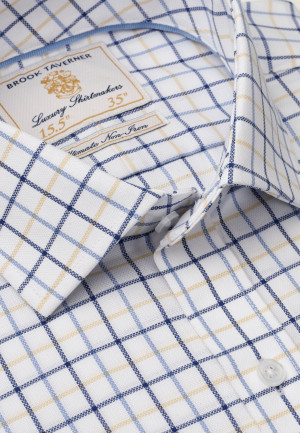 """33.5"""" Sleeve White With Navy, Blue And Yellow Check Shirt"""