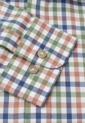 Short, Regular And Long Sleeve Navy, Peach And Moss Check Single Cuff Shirt