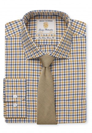 "36.5"" Sleeve Navy And Gold Check Single Cuff Shirt"