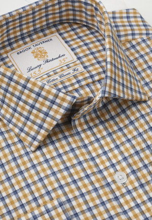 """35"""" Sleeve Navy And Gold Check Single Cuff Shirt"""
