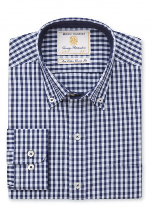 Classic and Tailored Fit Navy and Blue Gingham Shirt
