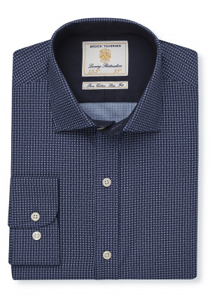 Classic And Tailored Fit Navy With Blue Circles Single Cuff Shirt