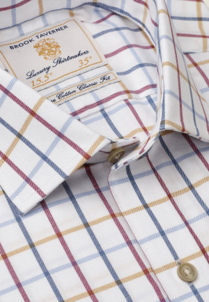 """33.5"""" Sleeve Navy, Red, Blue And Mustard Check Single Cuff Shirt"""