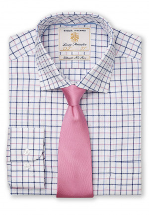 "33.5"" Sleeve Navy, Blue And Pink Check Shirt"