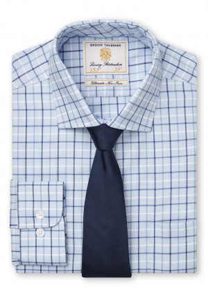 33.52 Sleeve Navy, Blue And White Check Shirt