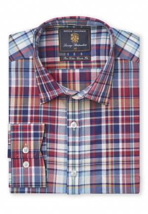 Multi Coloured Check Single Cuff Shirt