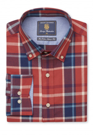 Tailored Fit Rust and Navy Bold Plaid Check Shirt