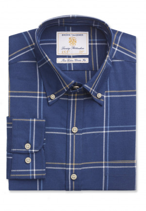 "35"" Sleeve Navy With Blue and Mustard Check Shirt"