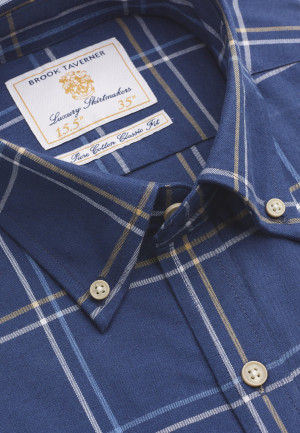 """35"""" Sleeve Navy With Blue and Mustard Check Shirt"""