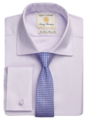 Lilac Herringbone 100% Easycare Cotton Shirt
