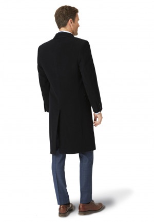 Black Bond Wool Cashmere Overcoat