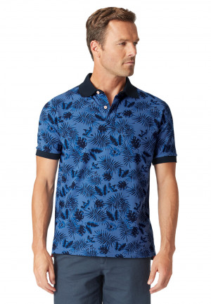 Bruton Garment Washed Denim-Blue Leaf Print Piqué Polo Shirt
