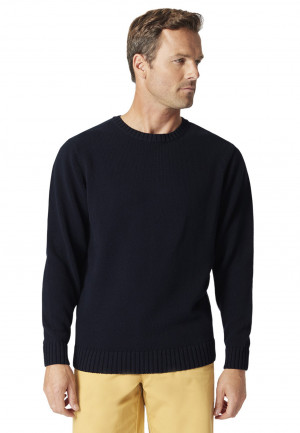 Earby Navy Plain Knit Cotton Crew Neck Jumper