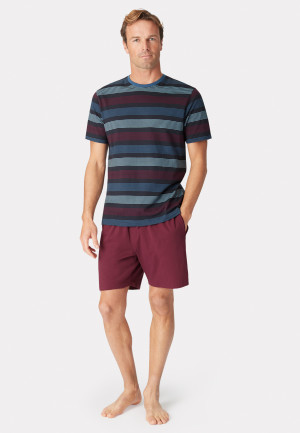 Guiseley Short Sleeve Navy Wine and Denim Blue Stripe T-Shirt