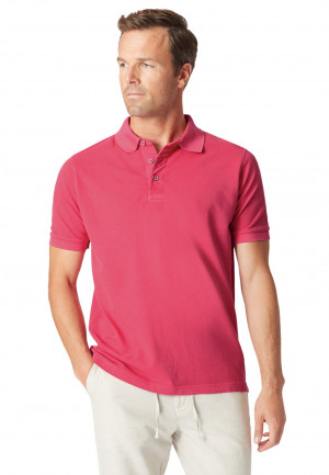 Overton Strawberry Garment Dyed Piqué Polo Shirt