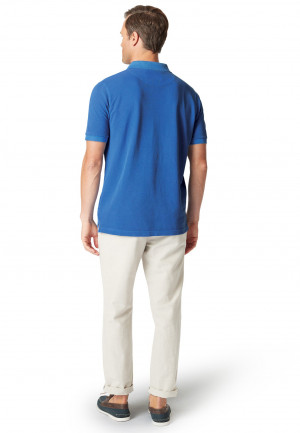 Overton Mid Blue Garment Dyed Piqué Polo Shirt