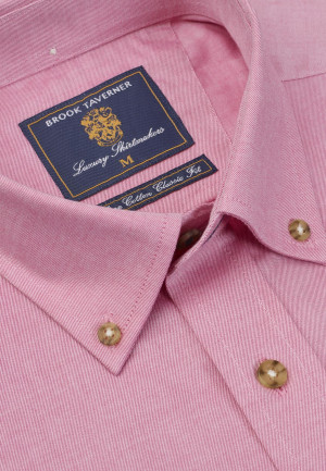 Plain Cerise Twill Peached Cotton Button Down Collar Shirt