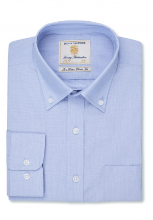 Long And Short Sleeve Light Blue End On End Button Down Collar Shirt