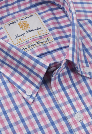 Non Iron Long And Short Sleeve Sky And Pink Gingham Single Cuff Shirt