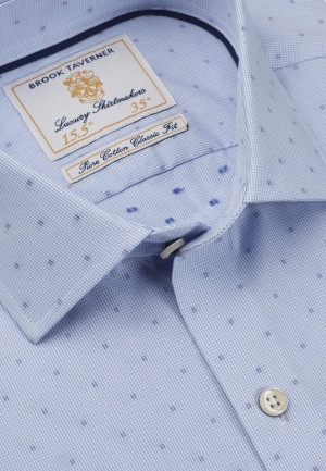 Tailored Fit Sky Blue With Blue Square Single Cuff Shirt