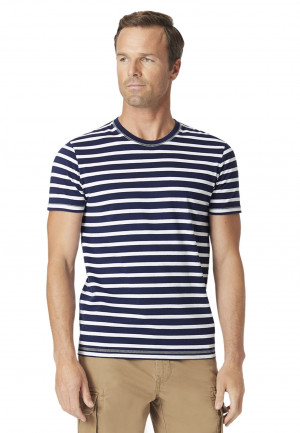 Ryton Navy Hoop Garment Washed T-Shirt