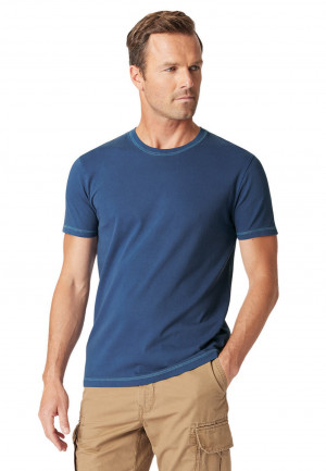 Ryton Plain Navy Garment Washed T-Shirt