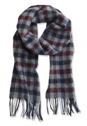 Charcoal, Wine and Blue Check 100% Lambswool Scarf