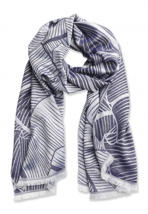 Mid Blue Printed Pattern Design Lightweight Bamboo Scarf