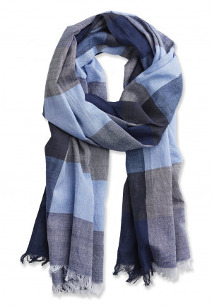 Blue, Navy and Stripe Block Design Lightweight Cotton Scarf