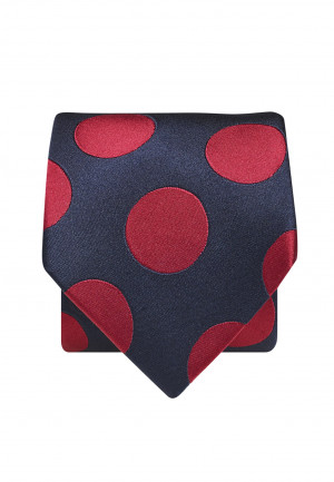 Navy With Red Spot 100% Silk Tie
