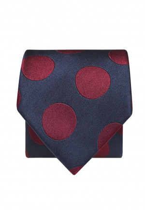 Navy With Claret Spot 100% Silk Tie