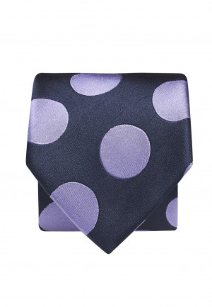 Navy With Purple Spot 100% Silk Tie