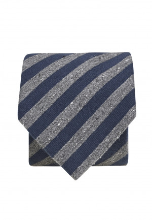 Navy And Charcoal Textured Stripe Tie