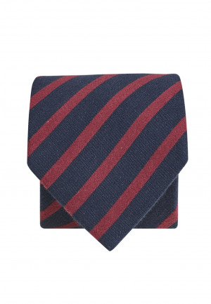 Navy And Red Texture Stripe Tie