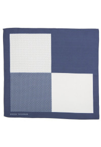 Navy Pattern 100% Silk Pocket Square