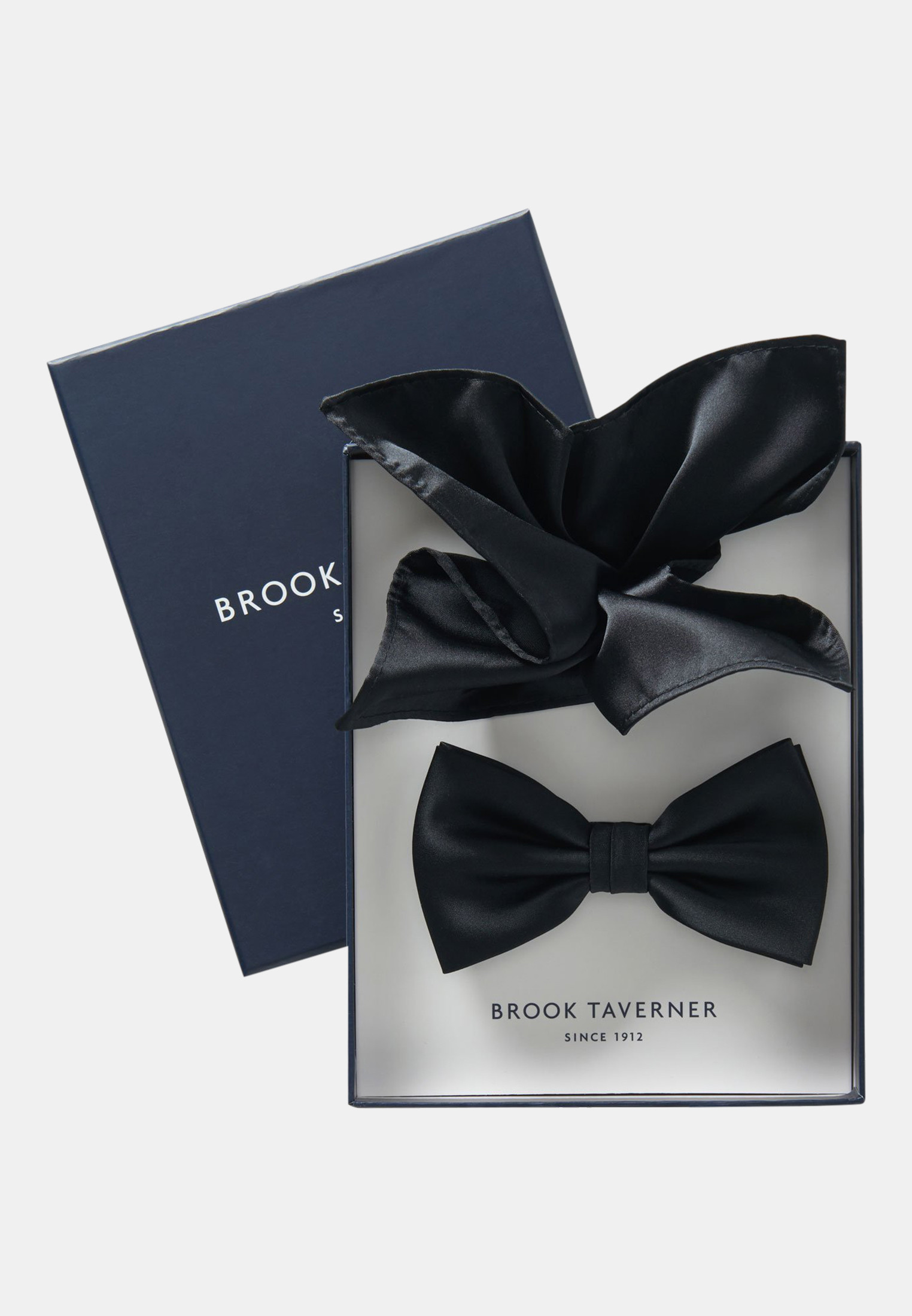 Black Plain Satin Bow Tie & Hanky Set