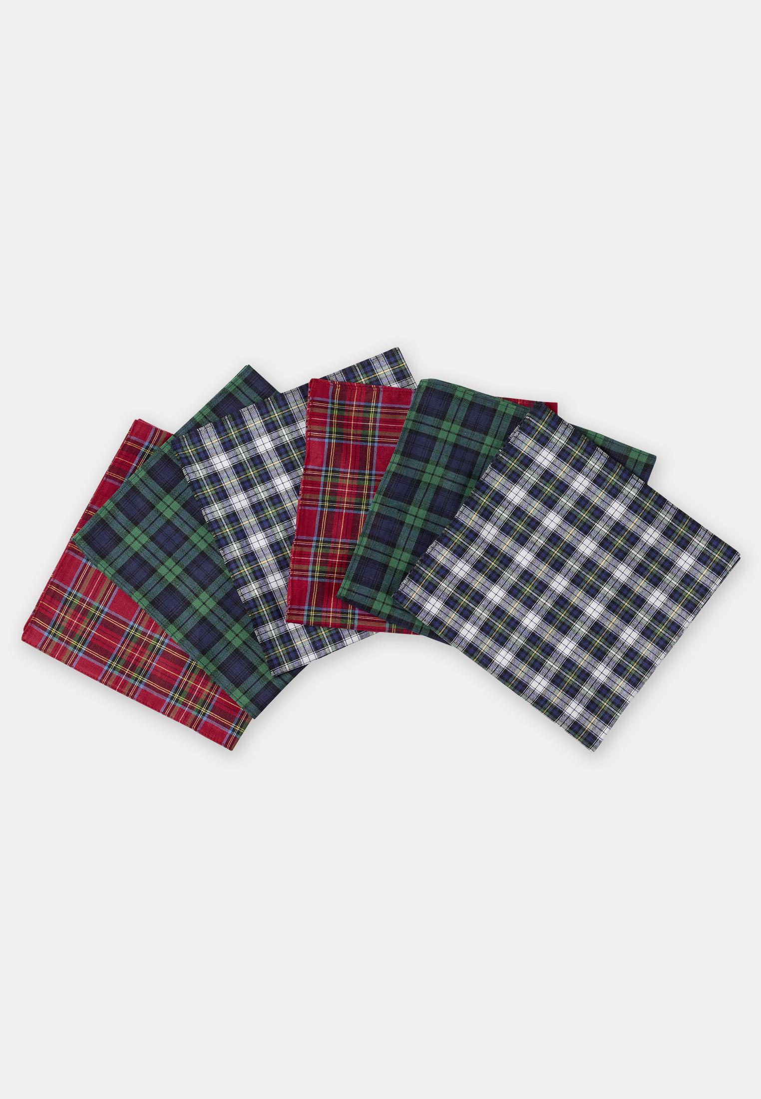 Luxury Handkerchief - Assorted Tartan Check - Presentation Pack of Six