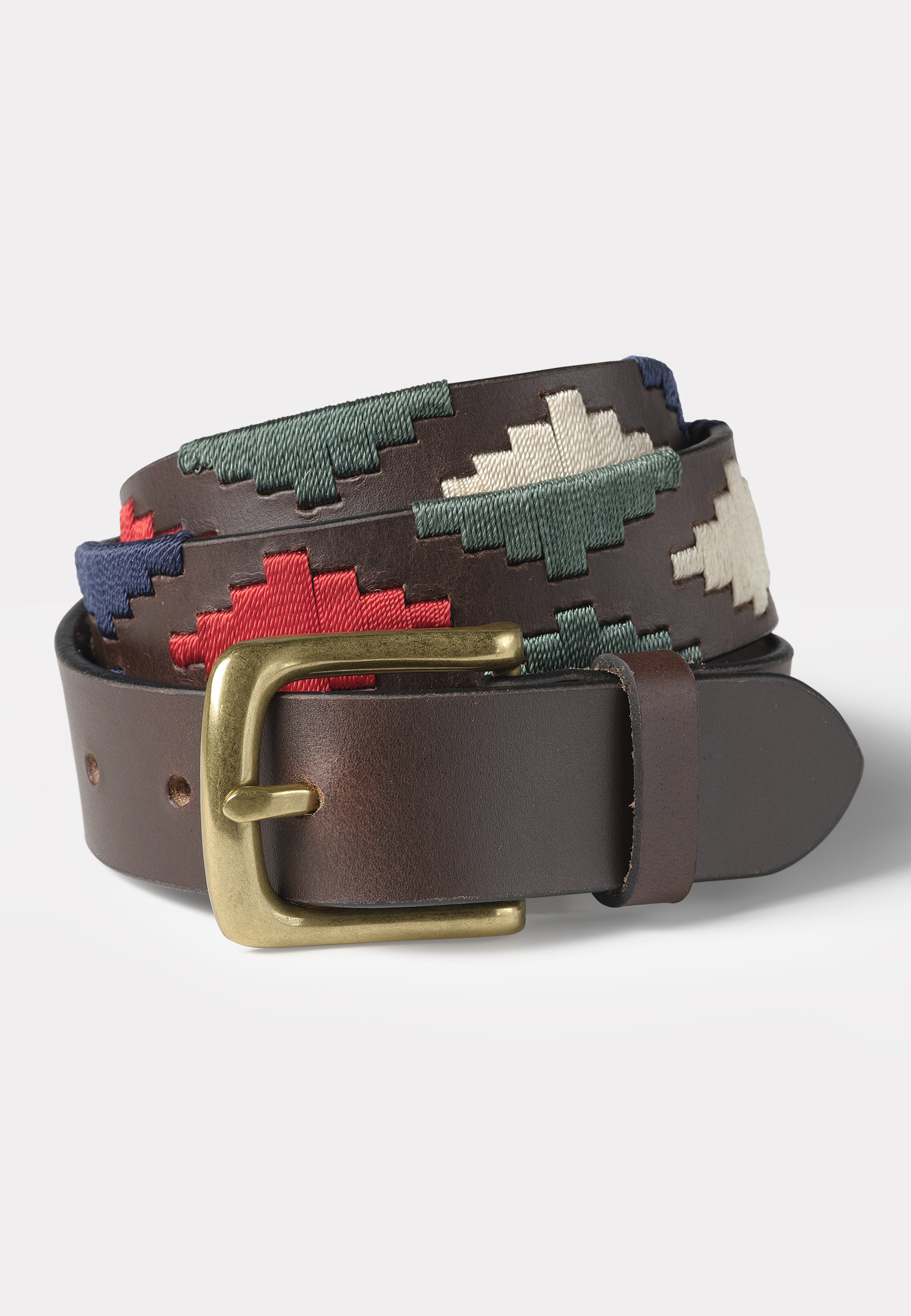 Cambridge Brown Leatther with Woven Design Belt